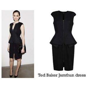 🆕Ted Baker Jamthun Zip-Front Peplum Dress